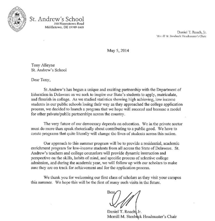 Welcome Letter Welcome Letter From Daniel T Roach Jr Headmaster Of