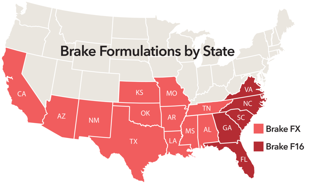 Brake Formulations by State, 2016.
