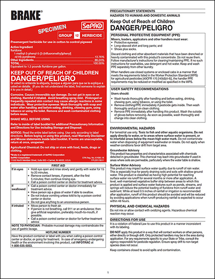 Brake Specimen Label - Approved for use in the following states: Alabama, Arkansas, Florida, Georgia, Kansas, Louisiana, Mississippi, Missouri, North Carolina,Oklahoma, South Carolina, Tennessee, Texas, Virginia