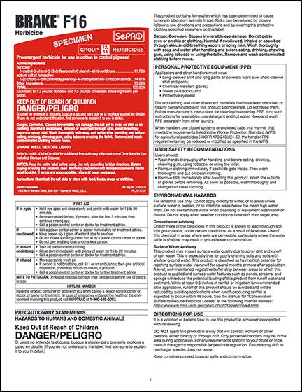 Brake F16 Specimen Label - Approved for use in the following states: Alabama,Arkansas, Florida, Georgia, Louisiana, Mississippi,Missouri, North Carolina, South Carolina, Tennessee, Virginia