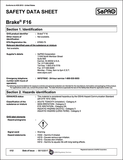 Brake F16 SDS Sheet -