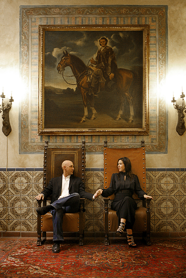 A gorgeous Gothic engagement!  Elana and Gaz's engagement session took place at the historic Moroccan themed  Hotel Figueroa , in downtown Los Angeles. The hotel evokes the exotic glamour of old Hollywood and will be the venue for their nuptials. A perfect setting for this regal couple!