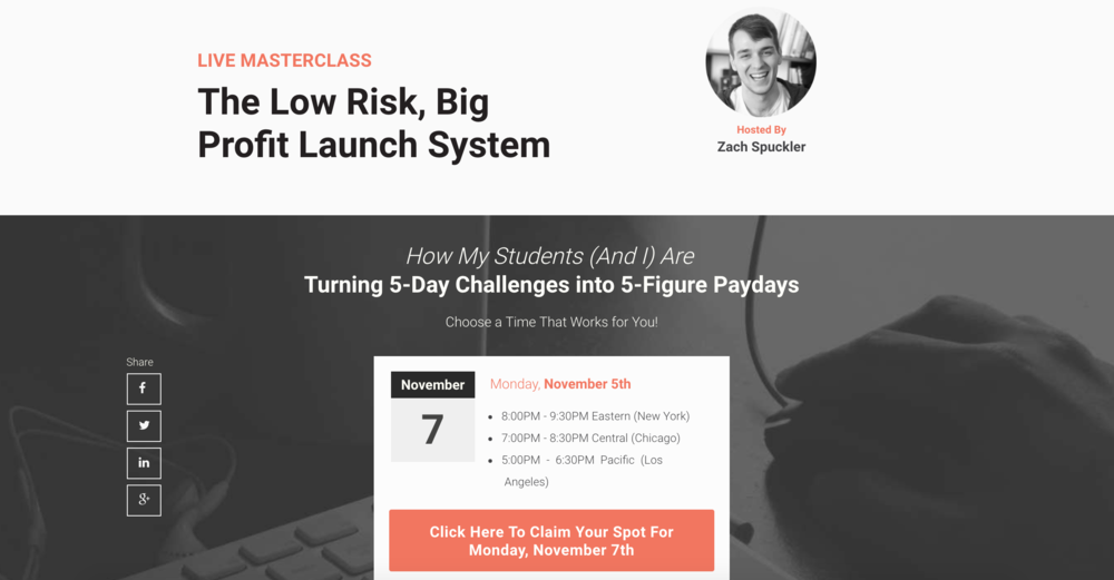 This webinar was part of our $100k launch - they work!