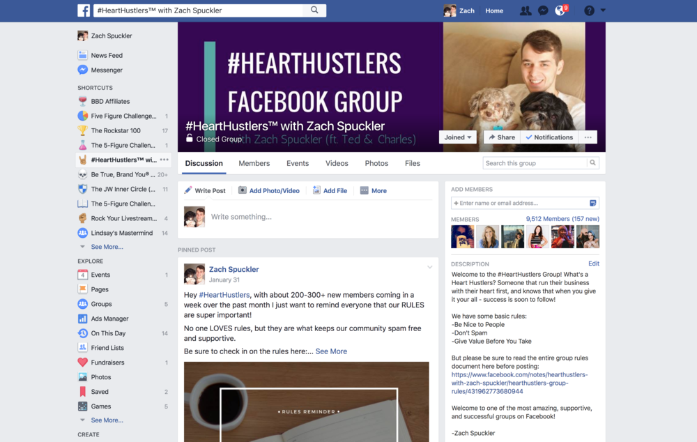 Groups Like #HeartHustlers on Facebook can be a great place to watch and research your potential audience by listening.
