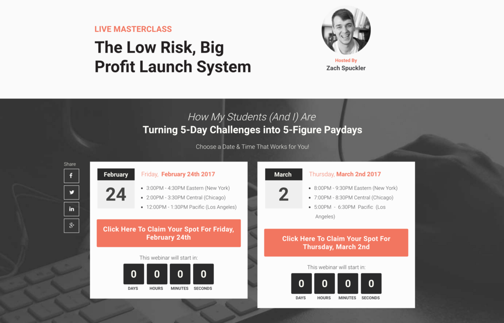 Here's an example of a webinar style launch sign up page...