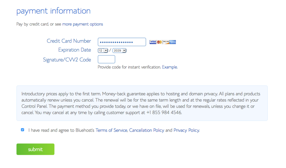 Step 5: Set up your payment information. - Just like the previous step, this part is self explanatory. Fill in your payment information, agree to the usual Terms of Service, and click the 'Submit' button.