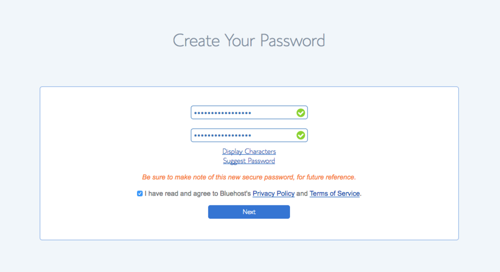 Step 7: Finalize your password. - Once you decide on a password, fill in the required form. And of course, don't forget to agree to the terms.