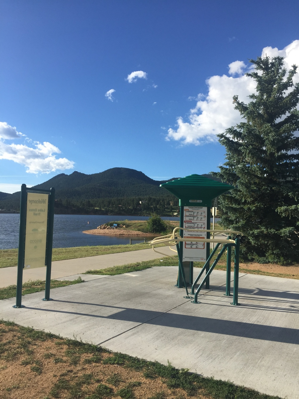 Do a few exercises as you walk around Lake Estes