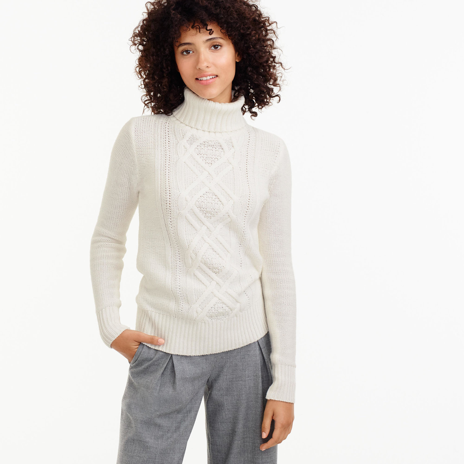 4f997803a1243 J Crew Cable Knit Sweater with Turtleneck