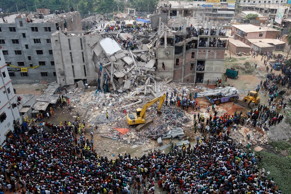 The Rana Plaza factory after it's collapse in 2013. Photo courtesy of the New York Times.
