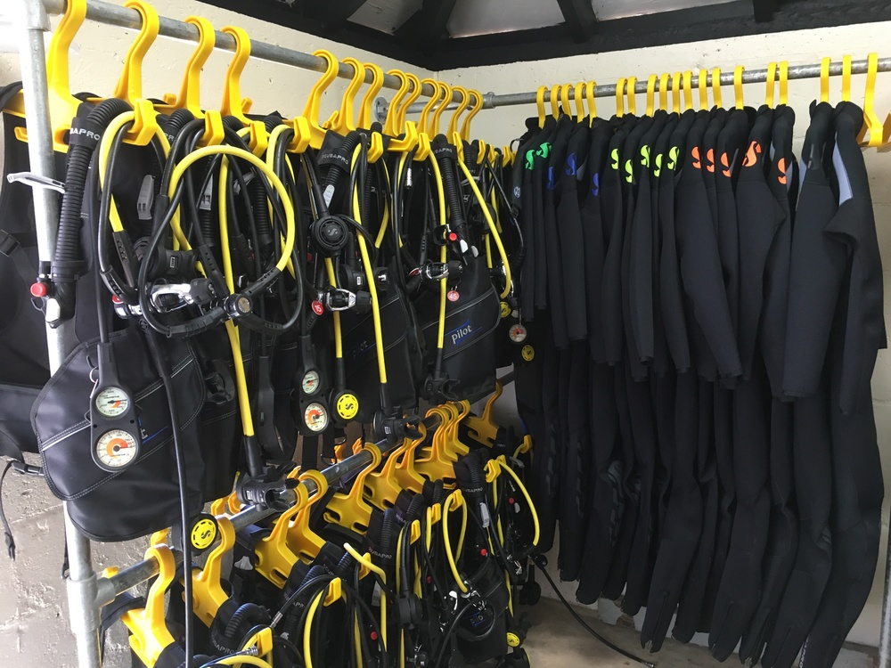 The high quality ScubaPro rental BCD, regulators and wetsuits used by Dive Bermuda at Grotto Bay.