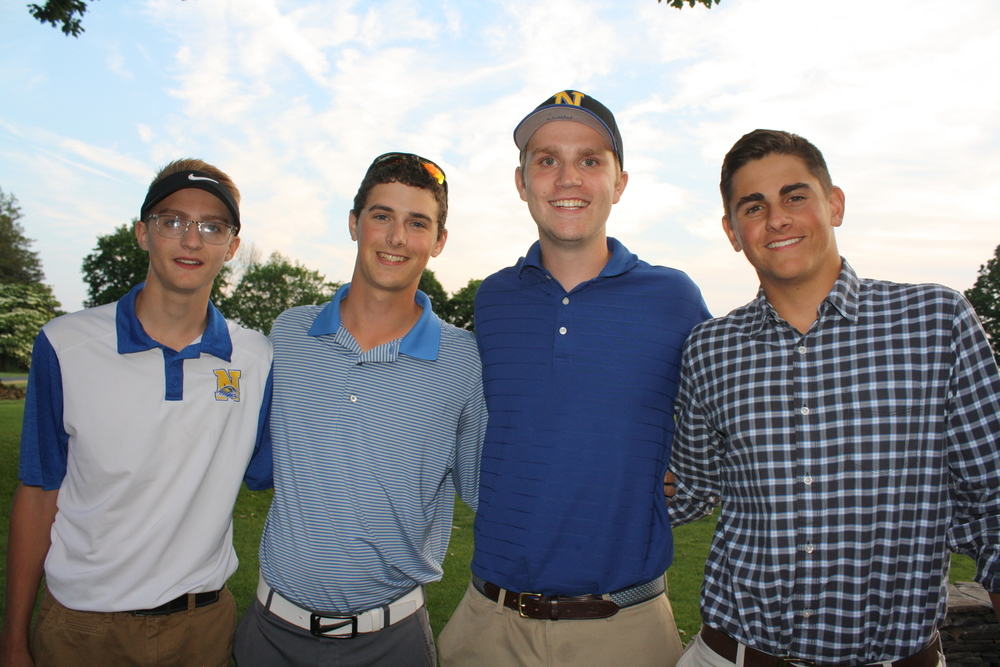 The team of Ryan Patrick, Colin Patrick, Matt Davis, and Michael Myer won the Newtown Scholarship Association's 24th annual Jack Friel Memorial Golf Scramble at Newtown Country Club. (Bee Photo, Baggett)