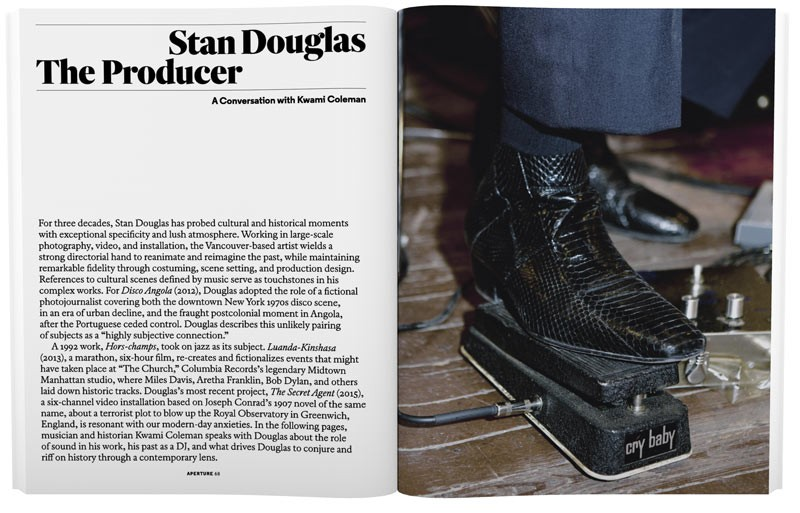 "K. Coleman, ""Stan Douglas: The Producer--A Conversation with Kwami Coleman,""  Aperture  224 (Fall 2016): 68-77."