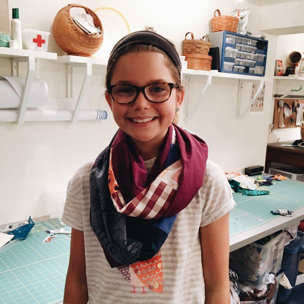 Ellie's patchwork scarf.