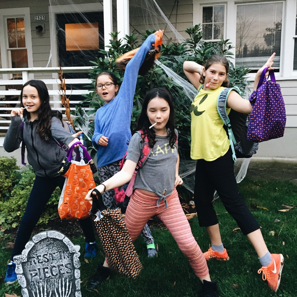 Trick-or-Treat bags. Maddie, Ellie, Eleanor, Brinley.