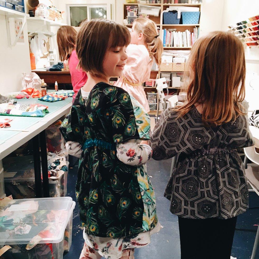 Kimono-style tunics. Siri and Wren.
