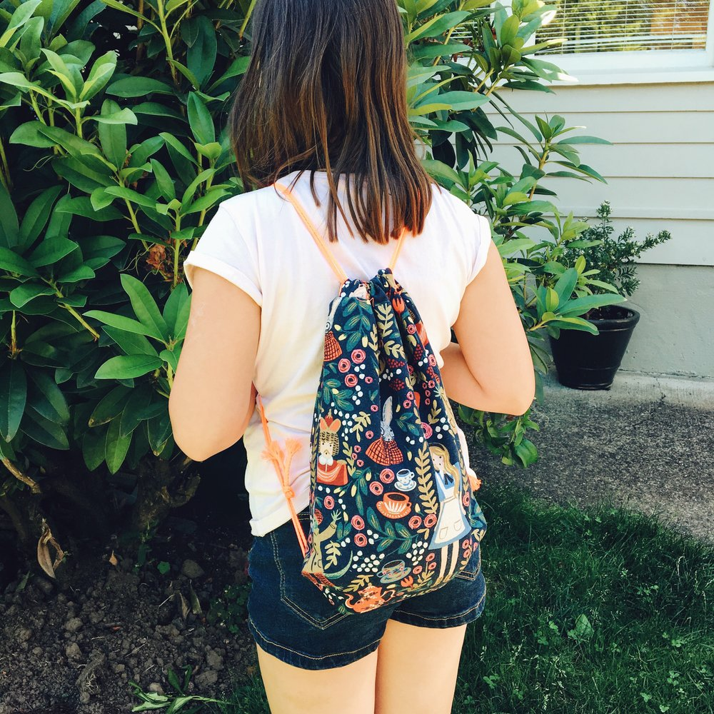 Daniella's drawstring backpack.