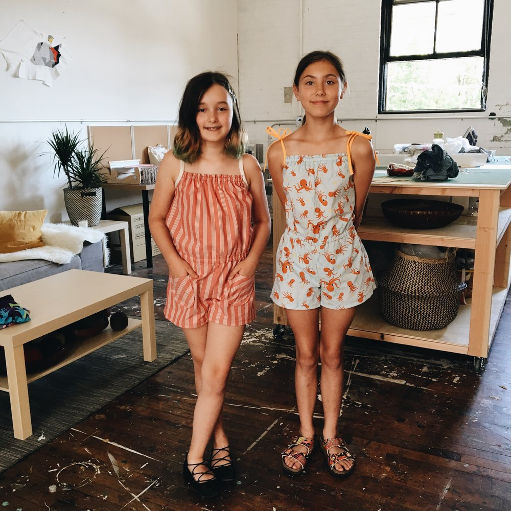 Summer rompers. Maia and Rose