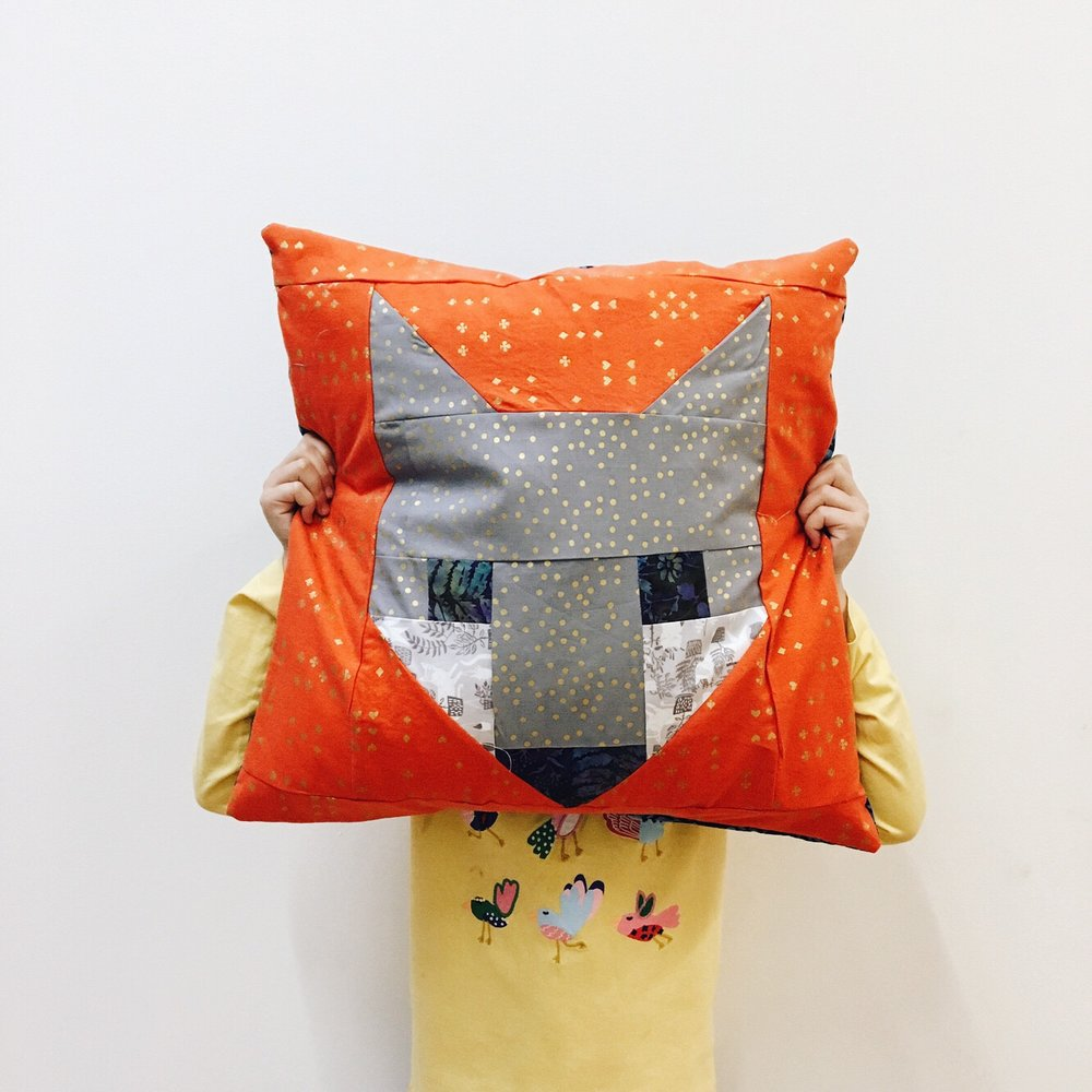 Siri's patchwork fox pillow
