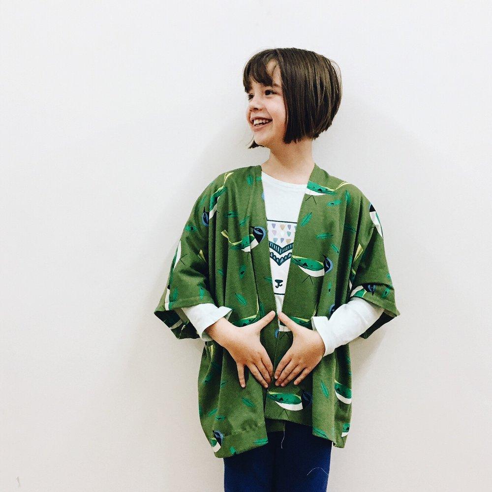 Siri's kimono jacket with Charley Harper fabric