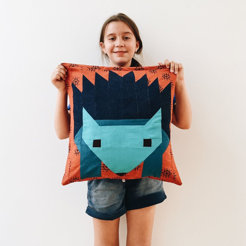 Anna's hedgehog patchwork pillow.