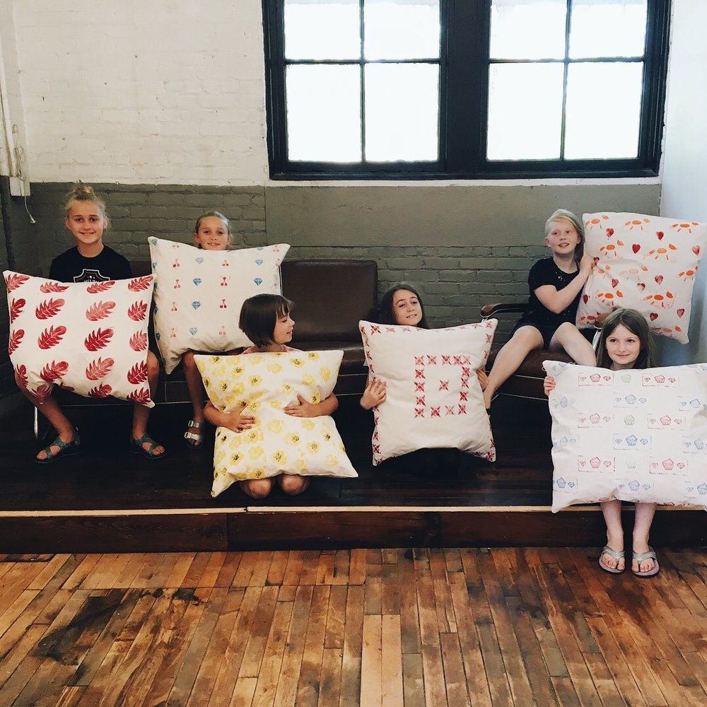 Hand-printed floor cushions