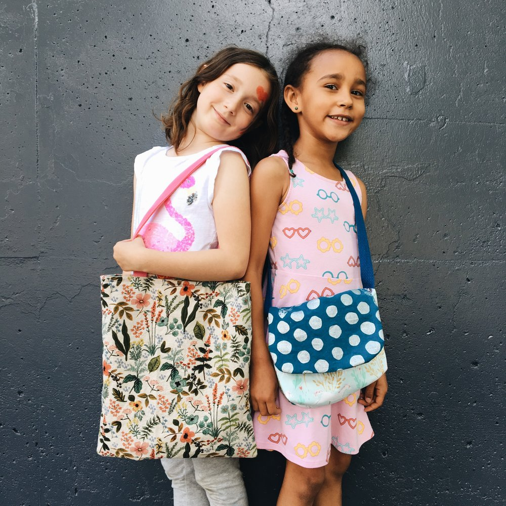 Tote bag and messenger bag. Lorelei and Zora.