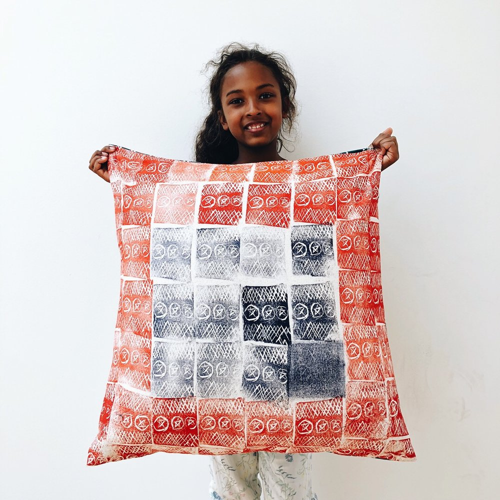 Diarra's hand-printed cushion