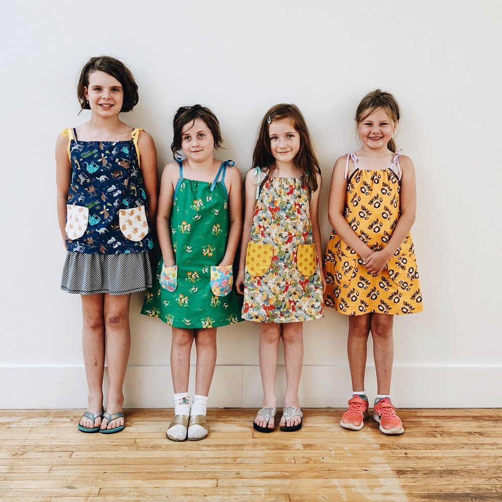 Sundresses/top with custom pockets. Aviva, Penny, Maddy, Fey.