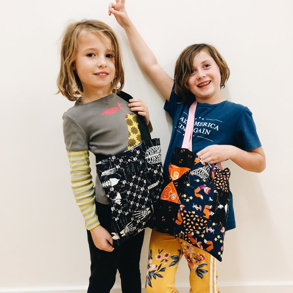 Alice's and Penny's patchwork trick-or-treat bags