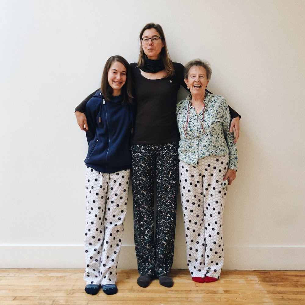 Pajama bottoms. Three generations.