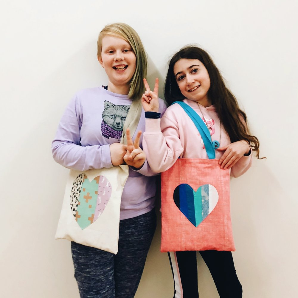Francis' and Eleanor's valetine totes
