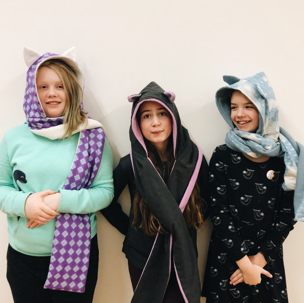 Hooded scarves with ears. Francis, Eleanor, Siri