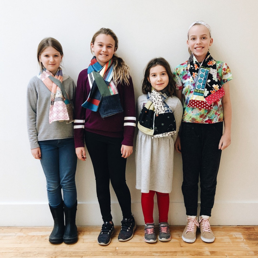 Patchwork scarves. Caroline, Carmen, Freya and Annika.