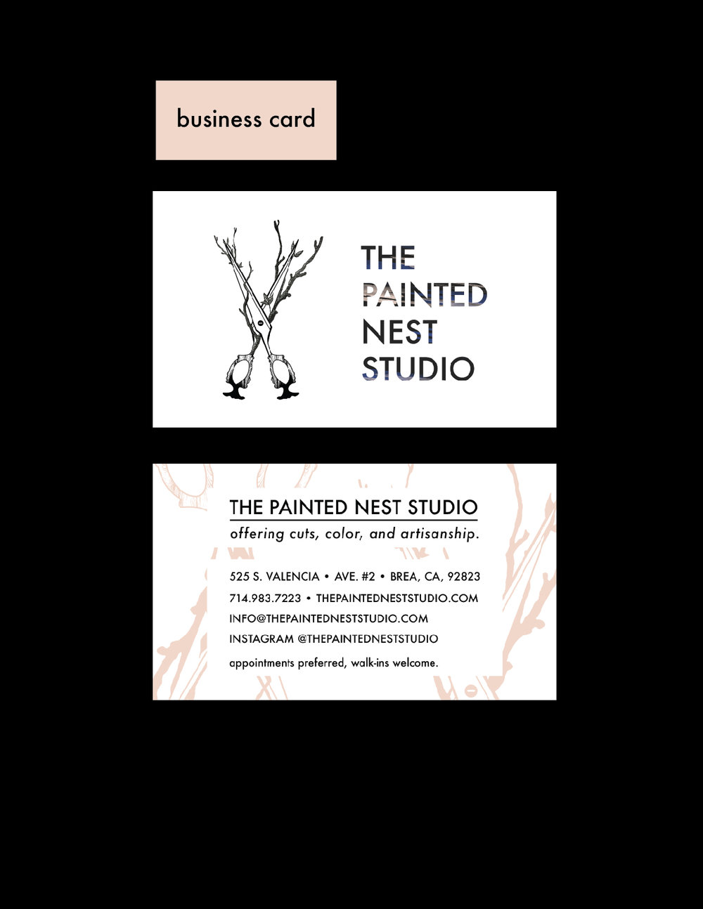the painted nest business card