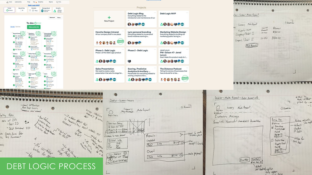 Debt Logic process overview including notes, basecamp management, and more
