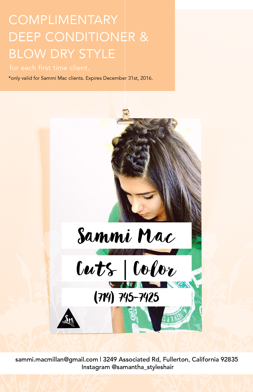 Sammi Mac Printed Flier Front