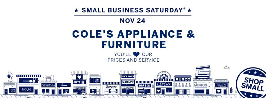 Small business Saturday, #shopsmall, Gas Ranges and Upholstery Furniture