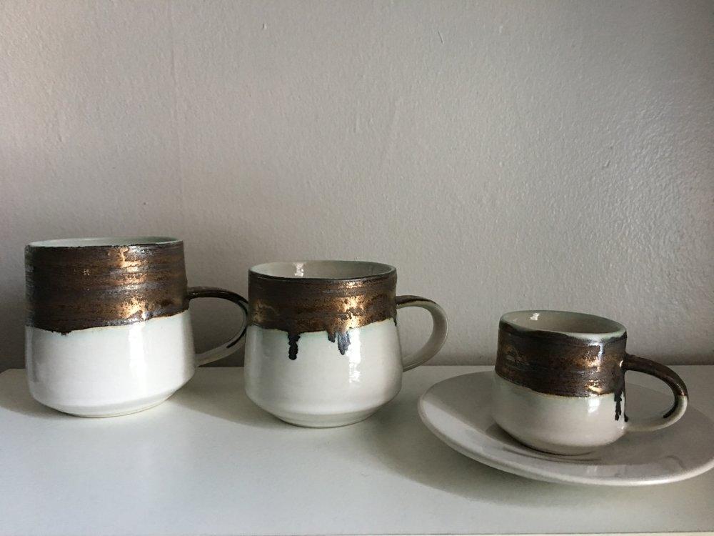 Porcelain with Bronze + White glazes