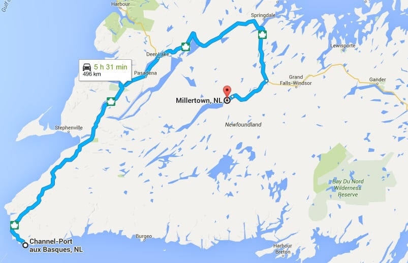 Take the trans-canada highway from Port aux basques to badger, the route 370 to millertown.