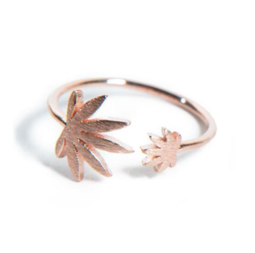 Rose Gold Dual Cannabis Leaf Ring, available here.