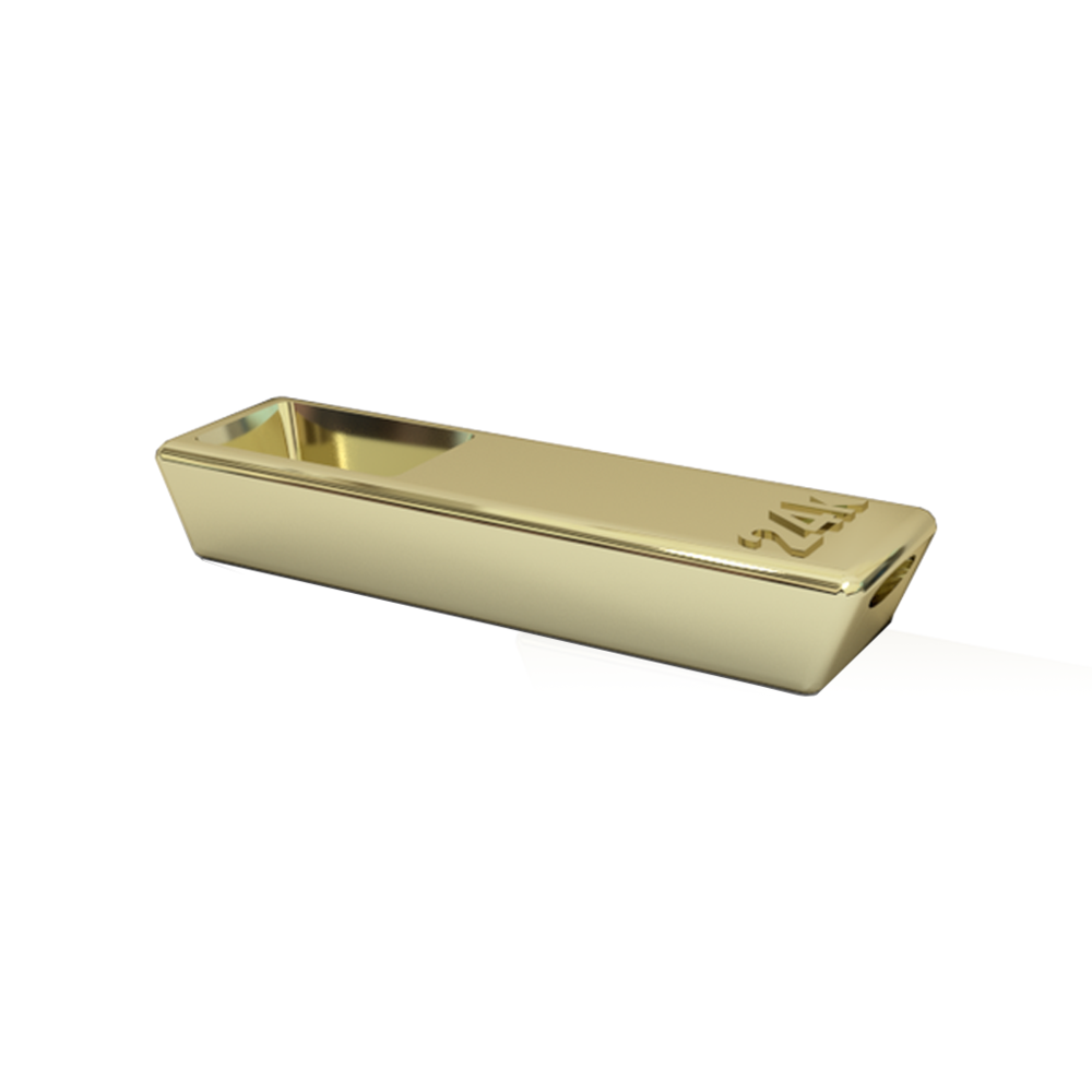 Shape Ways 18k Gold Bar Pipe
