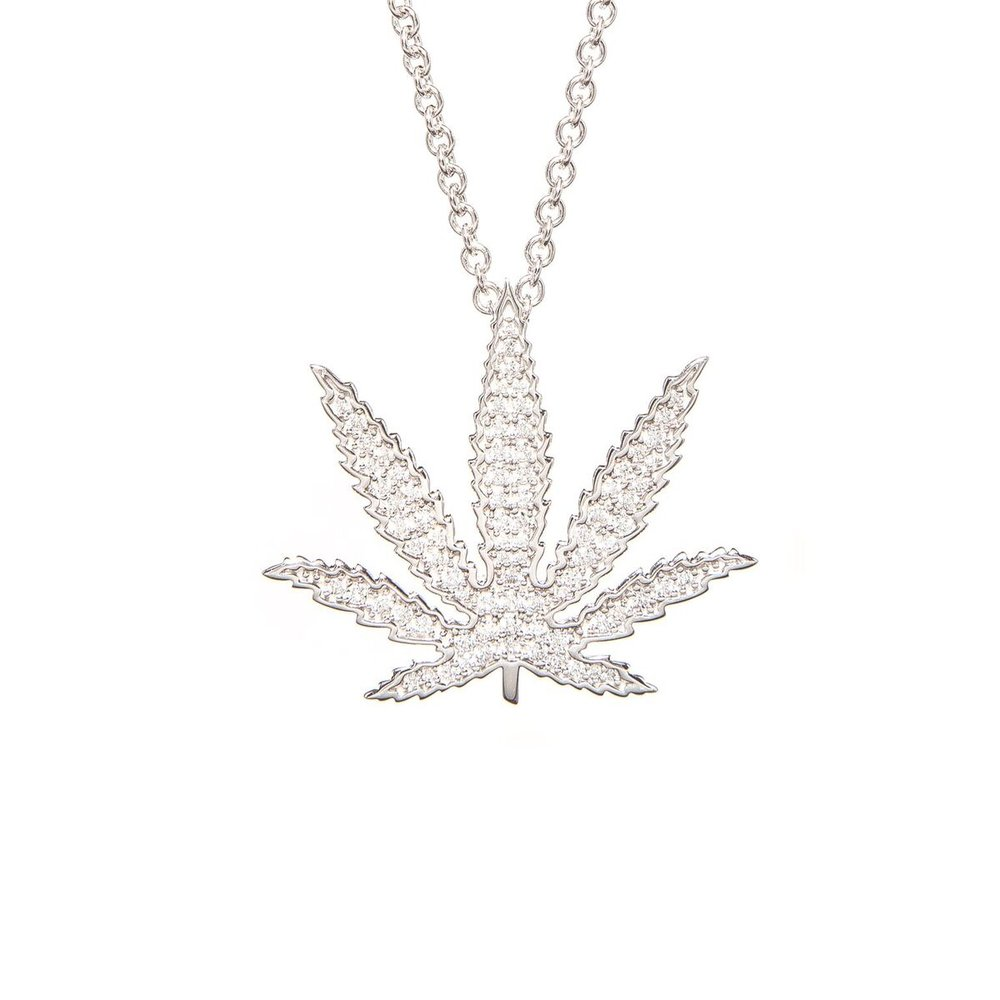 Sativa Leaf Diamond Pavé Pendant