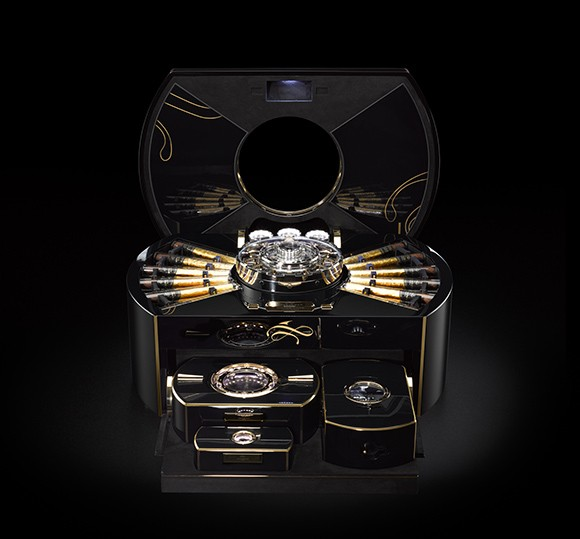 This Swiss hand-made humidor has 2,675 components including an internal gas lighter and tourbillion watch. They make only 12 a year so the waitlist is serious.   Retail value: one million swiss francs or $1,004,369.00 USD
