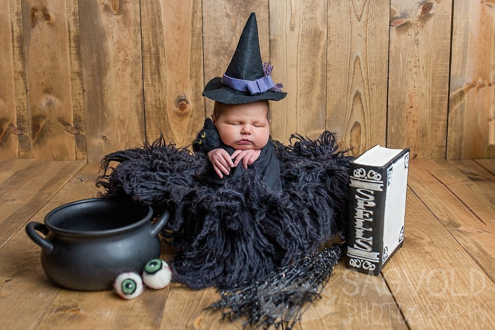 Newborn Halloween witch Fargo ND newborn photographer Janna Sagvold Photography
