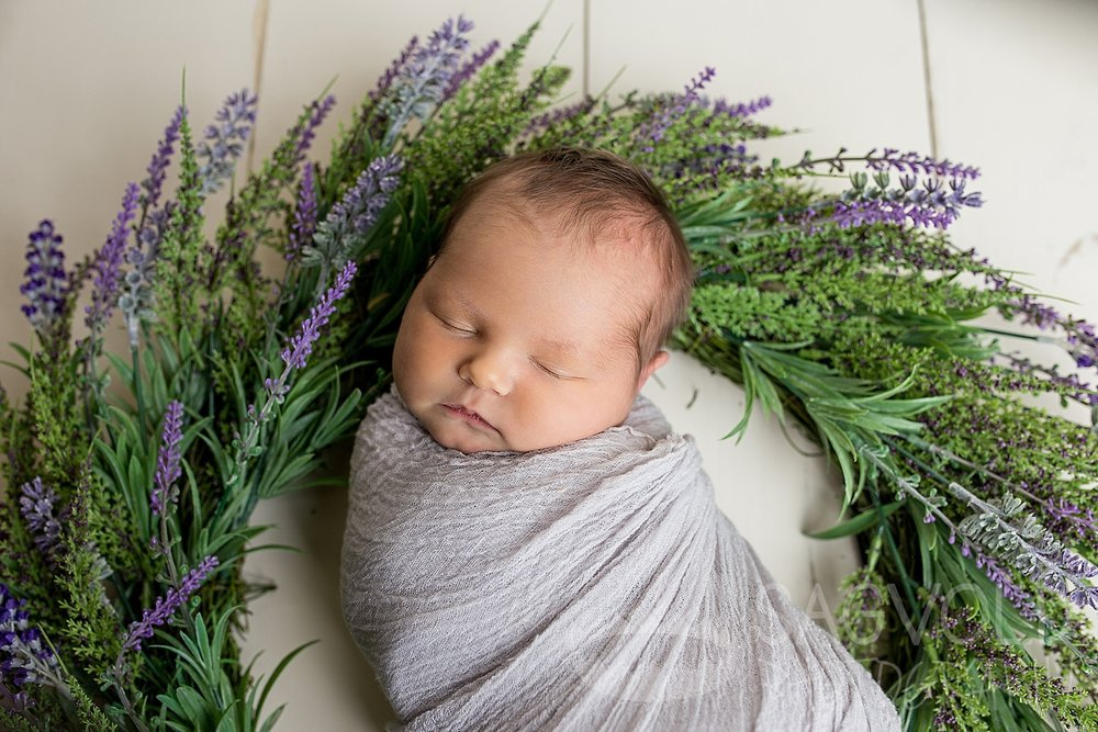 Newborn and flowers Fargo ND newborn photographer Janna Sagvold Photography