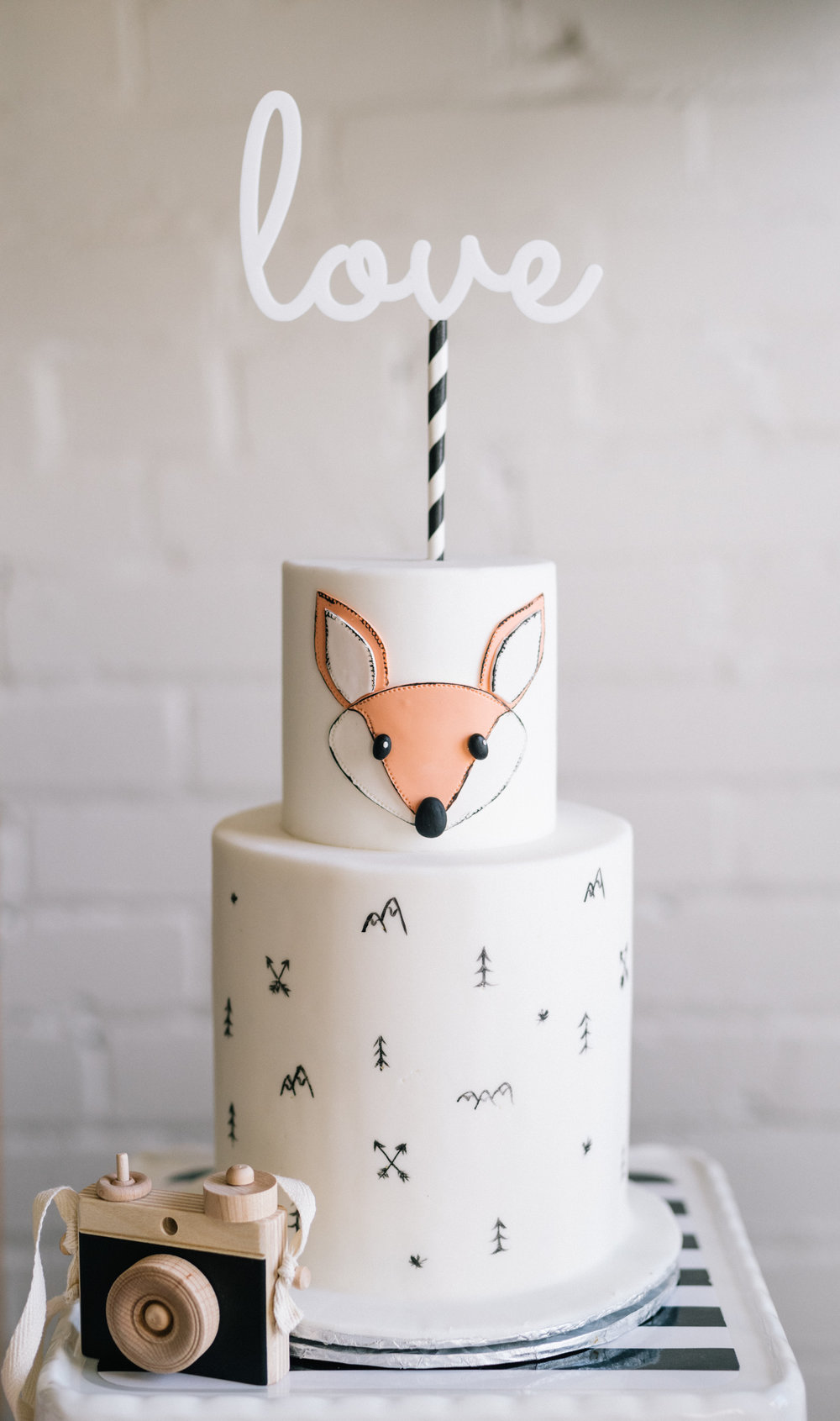 Hidden inside this wilderness-themed cake by Cakelaine is the baby's gender. The cute handmade wooden camera is made by Little Rose and Co.