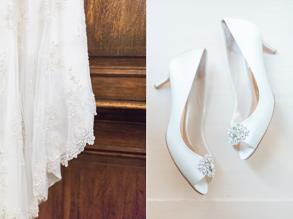 Wedding dress and bride's shoes