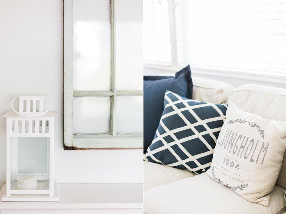 White Lantern - Navy Pillows - Living Room Decor - New Hampshire Home - Madison Rae Photography