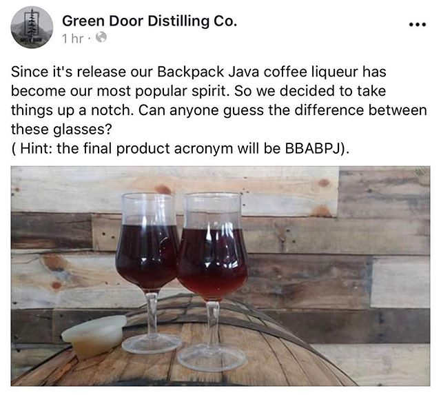 Have you tried @greendoordistilling  Backpacker Java?  A small batch adventurous liqueur with notes of malt, spice and vanilla, all wrapped in a genuine coffee flavor.  Produced using fresh coffee from Euphoria Coffee Company. Head to Green Door Distilling today in Downtown Kalamazoo and pick up a bottle!...looks like there might be more than one style to choose from! 😬#euphoriacoffee #greendoordistillery #smallbusinesses #workingtogether #discoverkalamazoo #kalamazoo #puremichigan #michiganmade #michigan #kalamazoomichigan #distillery #craftcoffee #craftcocktails #specialtycoffee #smooth #sogood👍 #coffeecocktail